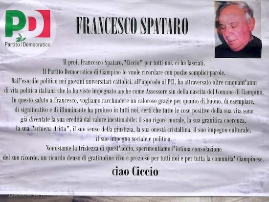"""Il Partito democratico di Ciampino saluta Francesco """"Ciccio"""" Spataro - ilmamilio.it - L'informazione dei Castelli romani"""