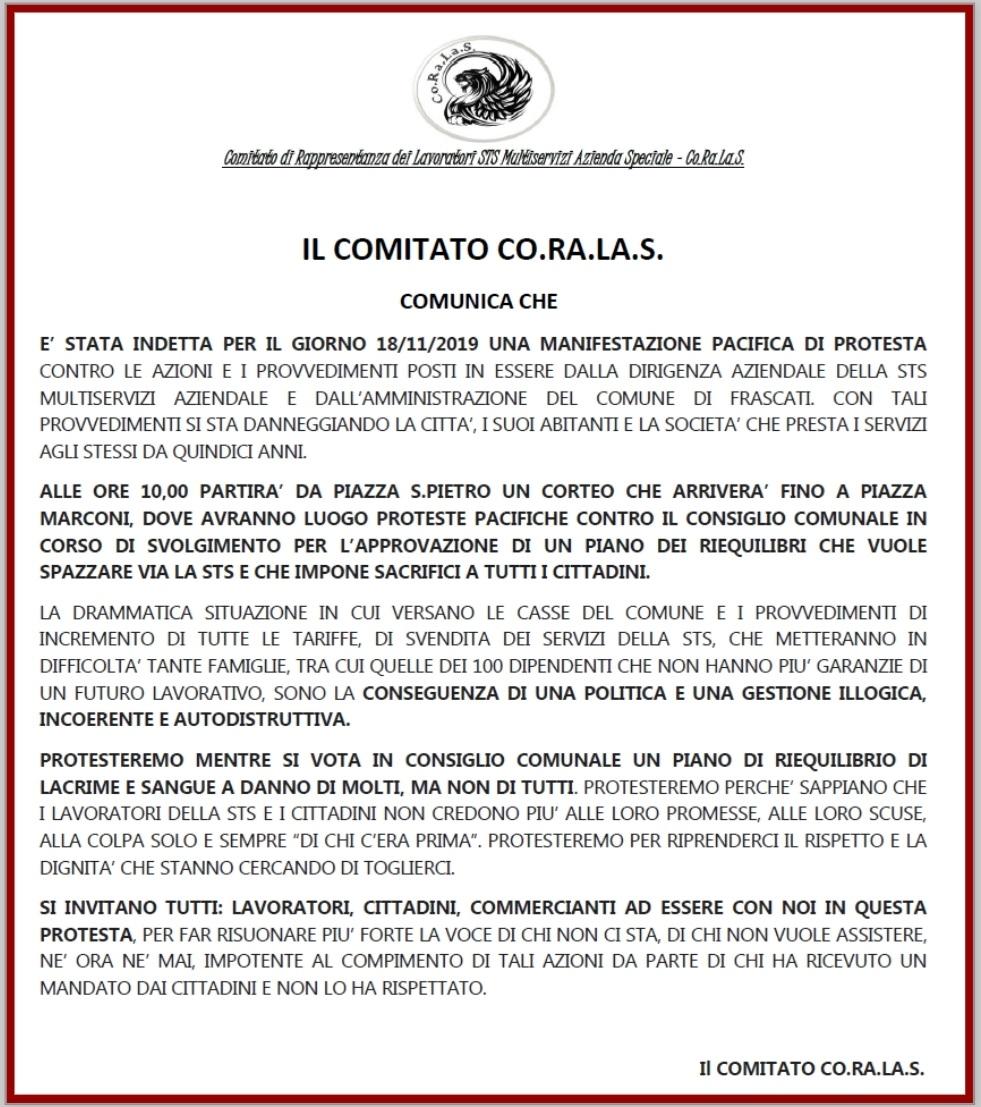 Frascati, i lavoratori della STS lunedì in corteo sotto al Comune - ilmamilio.it - L'informazione dei Castelli romani