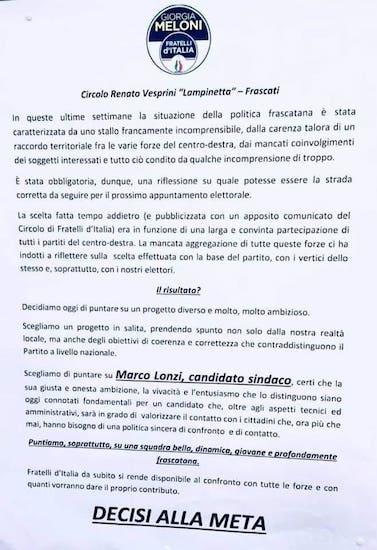 manifesto Fdi lonzi frascati ilmamilio