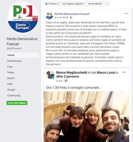 """Il Pd di Frascati: """"Decretano la fine della Sts, alzano al massimo l'Irpef poi si fanno i selfie"""" - ilmamilio.it - L'informazione dei Castelli romani"""
