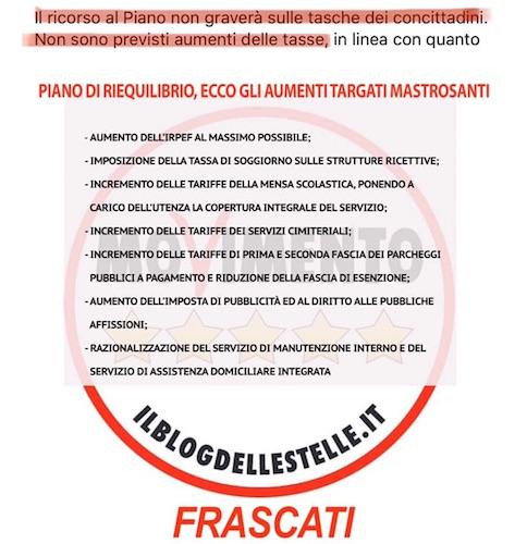 """Frascati: """"Tutte le bugie di Mastrosanti: ecco gli aumenti delle tasse che aveva giurato non sarebbero mai arrivati"""" - ilmamilio.it - L'informazione dei Castelli romani"""