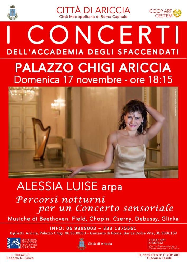 A Palazzo Chigi di Ariccia percorsi notturni e sensoriali con l'arpa di Alessia Luise - ilmamilio.it - L'informazione dei Castelli romani