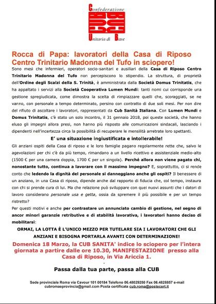 Rocca di papa lavoratori della casa di riposo in sciopero for Domus arredamenti olevano romano