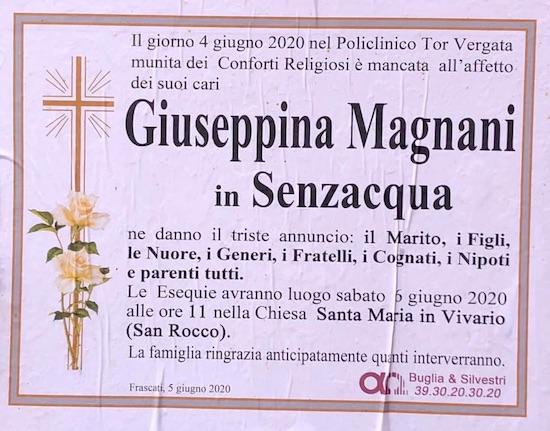 Magnani Giuseppina necrologio frascati ilmamilio